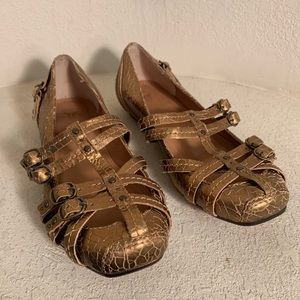 FRYE Brown Caged Buckle Strap Flats sz7.5